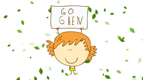 young woman making a video to create awareness in ecological topics holding a poster saying go green Animation