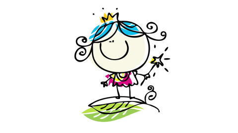 little princess winking an eye jumping on a green leaf and holding a star wand suggesting she will Animation