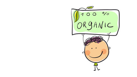 avatar of young man holding a poster supporting 100 percent organic products created to be uploaded Animation