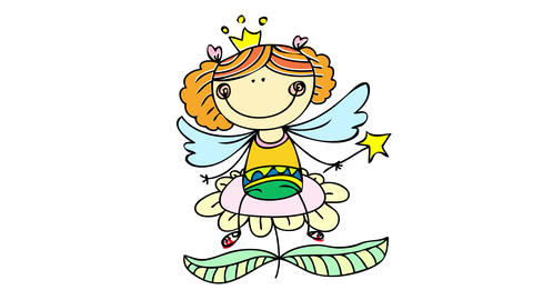 princess butterfly wearing a crown over a cute hairstyle with a folkloric dress sitting on a Animation