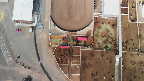CODY, WY - JULY 2019: Aerial panoramic view of Cody landscape and Stampede Rodeo Live Action
