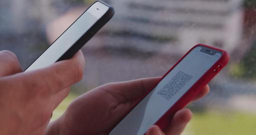 scanning QR code on smartphone Live Action