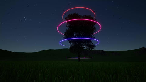 Fantasy future landscape neon tree. Neon circle. Science fiction. Starry night Live Action