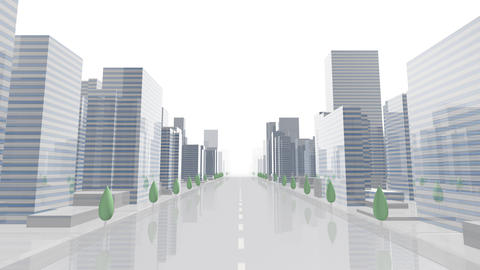 City Building Simple Modern Skyscraper business street background A2 white 4k Animation