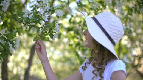 Romantic girl sniffing flowering apple tree in spring garden at sunny day Live Action