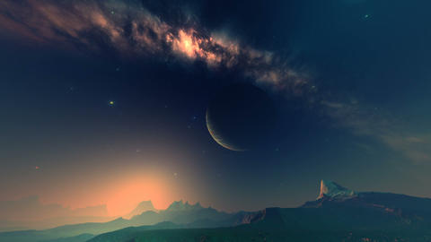 Mysterious Sunrise on an Alien Planet Animation