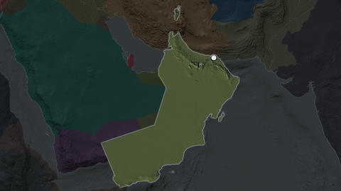 Oman and capital circled and zoomed. Administrative Animation