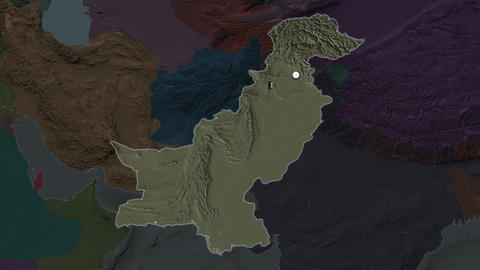 Pakistan and capital circled and zoomed. Administrative Animation