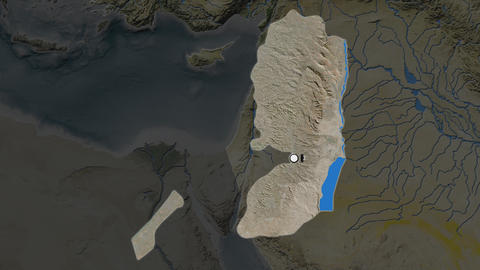 Palestina and capital circled and zoomed. Satellite Animation