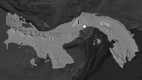 Panama and capital circled and zoomed. Bilevel Animation
