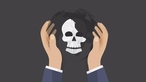human skull in hands as a symbol of global danger Animation