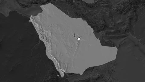 Saudi Arabia and capital circled and zoomed. Bilevel Animation
