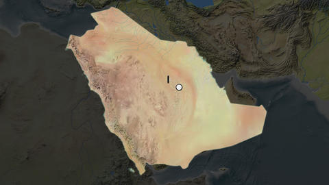 Saudi Arabia and capital circled and zoomed. Topographic Animation