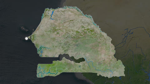 Senegal and capital circled and zoomed. Satellite Animation
