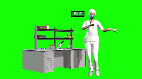 738 4k 3d animated AVATAR nurse in mask explains about coronavirus Animation