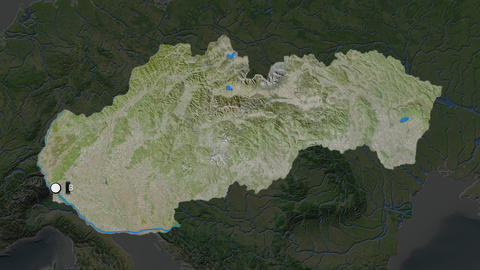 Slovakia and capital circled and zoomed. Satellite Animation