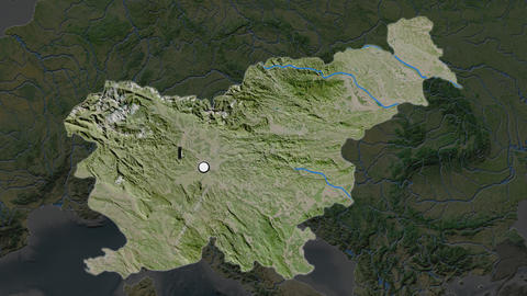 Slovenia and capital circled and zoomed. Satellite Animation