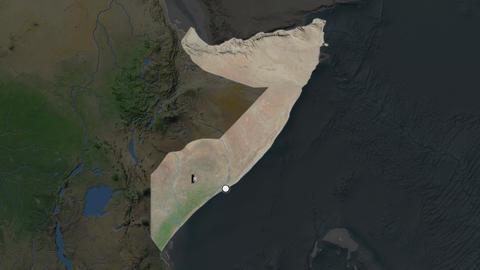 Somalia and capital circled and zoomed. Satellite Animation