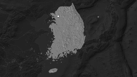 South Korea and capital circled and zoomed. Bilevel Animation