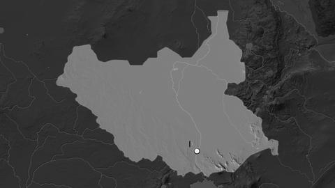 South Sudan and capital circled and zoomed. Bilevel Animation