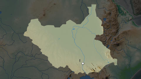 South Sudan and capital circled and zoomed. Physical Animation