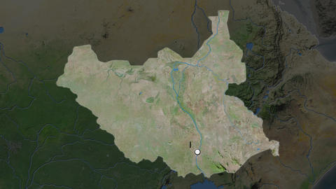 South Sudan and capital circled and zoomed. Satellite Animation