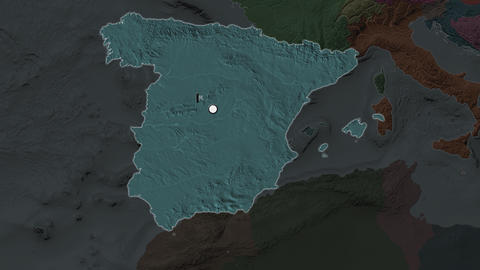 Spain and capital circled and zoomed. Administrative Animation