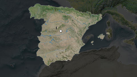 Spain and capital circled and zoomed. Satellite Animation