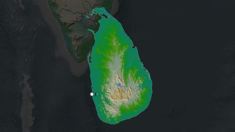 Sri Lanka and capital circled and zoomed. Physical Animation