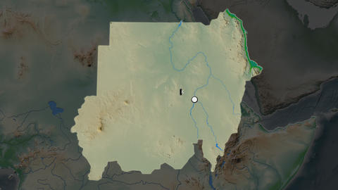 Sudan and capital circled and zoomed. Physical Animation