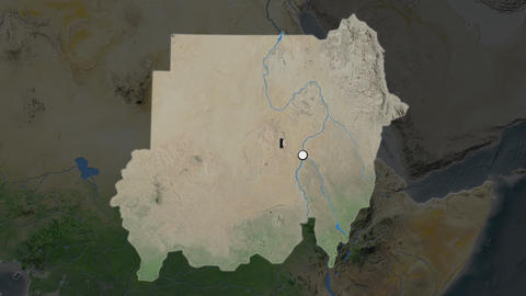 Sudan and capital circled and zoomed. Satellite Animation
