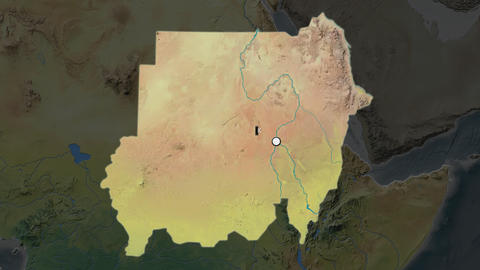 Sudan and capital circled and zoomed. Topographic Animation