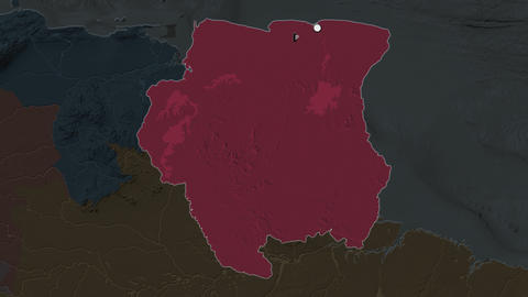 Suriname and capital circled and zoomed. Administrative Animation