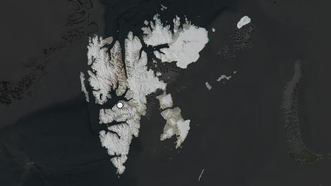Svalbard and capital circled and zoomed. Satellite Animation