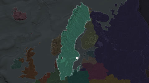 Sweden and capital circled and zoomed. Administrative Animation