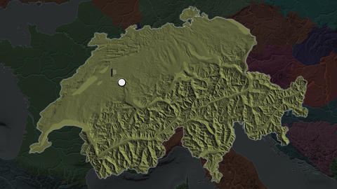 Switzerland and capital circled and zoomed. Administrative Animation