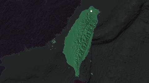 Taiwan and capital circled and zoomed. Administrative Animation