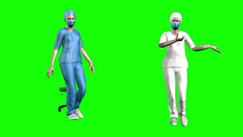 739 4k 3d animated two avatars nurses walking and explains about coronavirus Animation