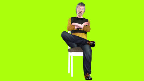744 4k 3d animated AVATAR old man sits on chair and communicates Animation