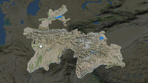 Tajikistan and capital circled and zoomed. Satellite Animation