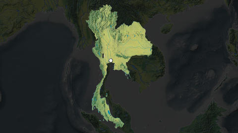 Thailand and capital circled and zoomed. Topographic Animation