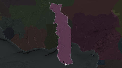 Togo and capital circled and zoomed. Administrative Animation