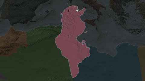 Tunisia and capital circled and zoomed. Administrative Animation
