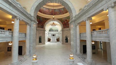Utah State Capital building inside pan arch HD 4791 Footage