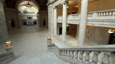 Utah State Capital pan across stairs rotunda HD 4754 Footage