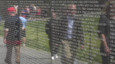 Vietnam Veterans Memorial reflection Wall 4K 051 Footage