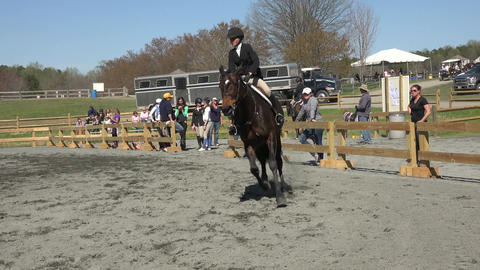 Virginia young girl horse jumping arena 4K Footage