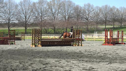Virginia young girl horse jumping competition 4K Footage