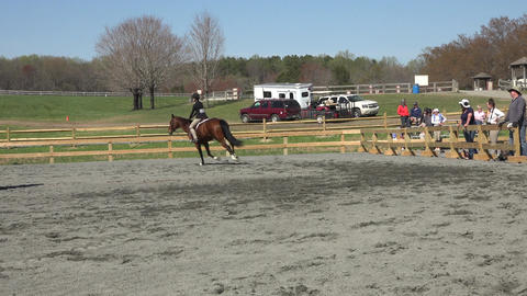Virginia young girl horse jumping competition arena 4K Footage