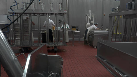 Volunteers making cheese for church charity donation 4K 020 Footage